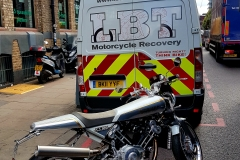 Rear of van with bike waiting | LBT Motorcycle Recovery