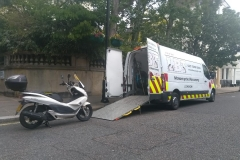 Piaggio  being loaded| LBT Motorcycle Recovery | London 020 7228 0800