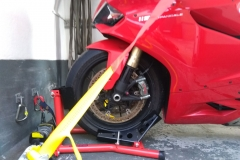 Red Ducati safely strapped in | LBT Motorcycle Recovery