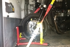 Safe strapping on front wheel | LBT Motorcycle Recovery