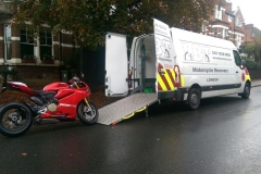 Red Ducati Panegali  being loaded | LBT Motorcycle Recovery | London