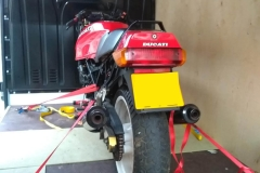 Rear of red Ducati loaded | LBT Motorcycle Recovery