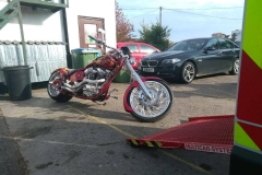 Custom red roadster | LBT Motorcycle Recovery