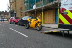 Yellow bike ready to load | LBT Motorcycle Recovery